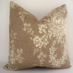 French Country Toile Pillow Waverly Floral Tan by linenandoak