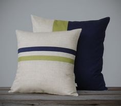 Moss and Navy Color Block and Striped Linen Pillow Set - Fall Home Decor by JillianReneDecor - Fall 2013 - Linden Green (More Colors)