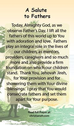 Prayer: Happy Father's Day - A Salute to Fathers http://christianstt.com/prayer-happy-fathers-day-a-salute-to-fathers/?utm_campaign=coscheduleutm_source=pinterestutm_medium=Christians%20Trinidad-Tobago%20(DAILY%20PRAYER)utm_content=Prayer%3A%20Happy%20Father's%20Day%20-%20A%20Salute%20to%20Fathers