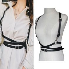 Leather harness sexy women around neck adjustable buckles waist belts