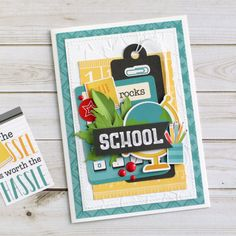 """""""Back to School"""" card by Anya Lunchenko for Fall Projects, School Projects, School Scrapbook, Scrapbook Layouts, Echo Park Paper, Paper Crafts For Kids, Fall Cards, Teacher Appreciation, Hello Everyone"""