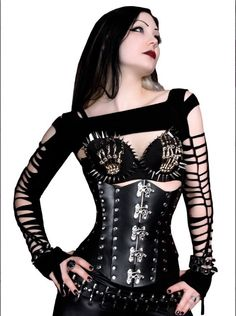 Black Leather Corset by Timeless Trends. Metal studs and clasps gives this gothic corset a style all its own. Gothic Lingerie, Gothic Corset, Gothic Steampunk, Gothic Dress, Victorian Gothic, Gothic Lolita, Goth Beauty, Dark Beauty, Dark Fashion