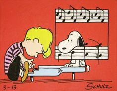 schroeder & snoopy peanuts comic painting from by waltyablonsky, $100.00