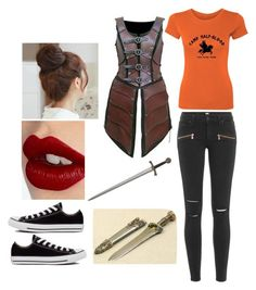"""""""Battle of the Labyrinth at Camp Half Blood"""" by rzdubrawsky ❤ liked on Polyvore featuring Paige Denim, Converse, Charlotte Tilbury and Pin Show"""