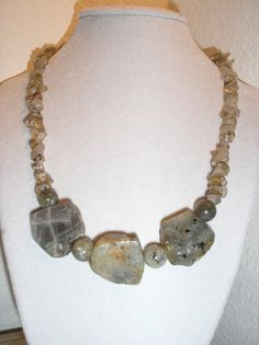 Genuine Labradorite nugget necklace by CreationsbyMaryEllen, $14.75
