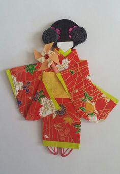 Washi Ningyo (muñecas de papel Kimono japonés tradicional) marcador o arte…