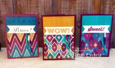 Quick Bohemian DSP Cards with Bravo Stamp Set Greetings using all Stampin' Up! Products 2015 Carolina Evans #stampinup