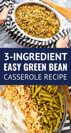 Easy Green Bean Casserole -- my family's version of the classic green bean casserole recipe uses only 3 ingredients, including canned green beans... Because who needs another complicated Thanksgiving recipe? NOT this mama! | green been casserole campbells | green bean casserole frenchs | green bean casserole recipe | simple green bean casserole #sidedishes #greenbeans #greenbeancasserole #thanksgiving #thanksgivingrecipes #christmas #christmasrecipes Simple Green Bean Casserole Recipe, Green Bean Casserole Easy Thanksgiving, Green Ean Casserole, Campbells Green Bean Casserole, Classic Green Bean Casserole, Easy Casserole Recipes, Potato Casserole, French Green Beans, Can Green Beans