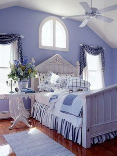 Guest bedroom ideas, Do you have a lot of guests? So, how did you prepare your guest bedroom? What are your guest bedroom decorating ideas? Periwinkle Bedroom, White Bedroom, Dream Bedroom, Periwinkle Blue, Teal Green, Soft Purple, Lavender Blue, Lavender Room, Pretty Bedroom