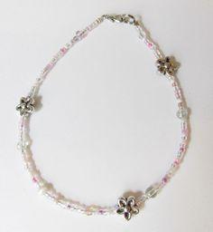 Fußkettchen - Fußkettchen mit Kristallen u Blumen in rosa - ein Designerstück von soschoen bei DaWanda