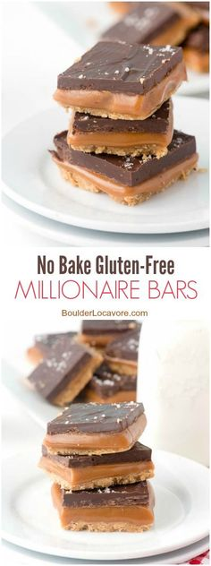 No Bake Gluten Free Millionaire Bars. Gluten Free Shortbread cookie layer topped with gooey caramel, chocolate and sea salt! Gluten Free Bars, Gluten Free Deserts, Gluten Free Sweets, Foods With Gluten, Gluten Free Cooking, Dairy Free Recipes, Gluten Free Christmas Recipes, Cheap Recipes, Cookies Sans Gluten