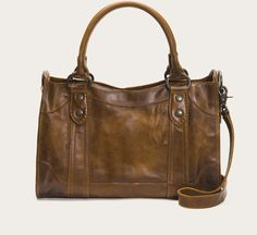 Made from beautiful pull up leather with Frye signature Melissa buttons, this satchel is perfect. That kind of carryall that gets even better with age. Tote Handbags, Cross Body Handbags, Purses And Handbags, Cheap Handbags, Popular Handbags, Latest Handbags, Stylish Handbags, Large Handbags, Women's Handbags