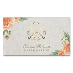 Makeup Artist Hair Stylist Vintage Floral Linen Business Card