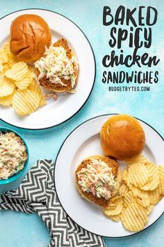 Baked spicy chicken sandwiches have three layers of heat and are topped with a creamy-sweet homemade honey yogurt coleslaw Spicy Chicken Sandwiches, Spicy Baked Chicken, Vegan Sandwiches, Sandwich Recipes, Meat Recipes, Chicken Recipes, Dinner Recipes, Frugal Recipes, Barbecue Recipes