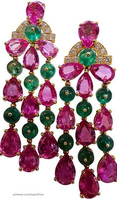 Bvlgari Pink Sapphire Emerald Diamond Pendant Earrings