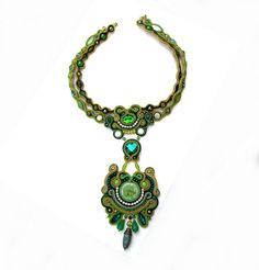 Extraordinary Soutache Necklace Collar Charm Glamour Chic Green Gold Multicolor Soutache Jewelry Hand Embroidered Gift