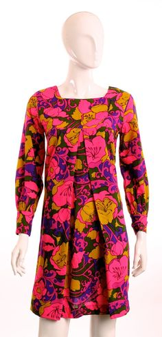 Vintage 1960's Donley Seattle  Mod  Pink Olive Floral Empire Waist Full Scoop Neckline  Maternity   Long Sleeve Cuff Back Zip Dress SZ 8 on Etsy, $54.00