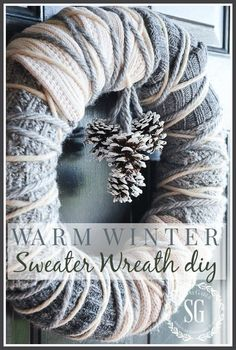 WARM WINTER SWEATER WREATH-A beautiful winter wreath that anyone can make-