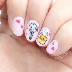 Cute Keys Nails Cute Acrylic Nails, Cute Nails, My Nails, Birthday Nail Art, Kawaii Nail Art, Pointy Nails, Cute Nail Art Designs, Nails For Kids, Disney Nails