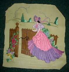 Antique Vintage Hand Embroidered Picture Crinoline Lady Walking Through A Gate | eBay