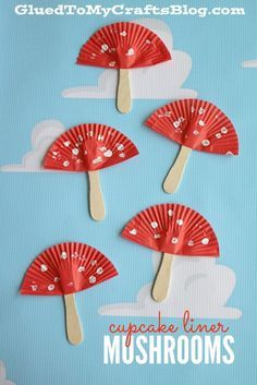 Cupcake Liner Mushrooms Kid Craft is part of Kids Crafts Spring Children - Although I'm not a big fan of those things in my yard, I am however a BIG fan of today's Cupcake Liner Mushrooms Kid Craft idea! Spring Crafts For Kids, Easy Crafts For Kids, Summer Crafts, Toddler Crafts, Fall Crafts, Diy For Kids, Arts And Crafts, Craft Kids, Popsicle Stick Crafts