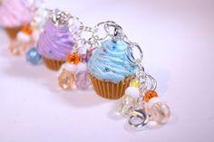Cupcake Charm Bracelet Miniature Food Fimo Polymer by katkraftuk, £12.00