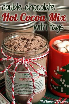Double Chocolate Hot Cocoa Mix with gift tags. An easy mix that makes instant rich hot cocoa. Always a popular gift jar. from The Yummy Life Holiday Treats, Christmas Treats, Christmas Baking, Holiday Recipes, Diy Christmas, Holiday Gifts, Christmas Presents, Handmade Christmas, Hot Chocolate Bars