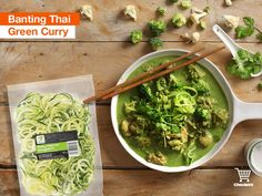 Thai Green Curry topped up with fresh zucchini noodles Green Curry, Banting, Winter Warmers, Zucchini Noodles, Lettuce, Fresh, Vegetables, Classic, Food