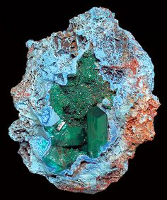 Incredible combination of Dioptase crystals in a Plancheite lined matrix vug!Tucson2014-142DioptasePlancheite.j