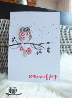 Magical Scrapworld, owl card. cards, christmas, christmas pines, cozy critters, Stampin' Up!,