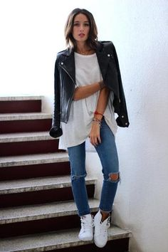 25 ways to style a leather jacket - with ripped jeans, an oversized white t-shirt, + white sneakers