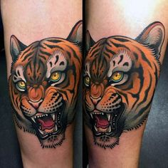 Mens Arms Realistic Tiger Neo Traditional Tattoo