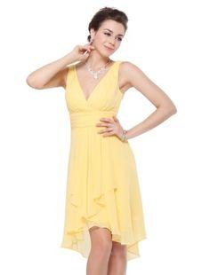 Ever Pretty Ruffles Padded Sexy V-neck High Low Bridesmaid Wedding Dress 03644 $29.99 (73% OFF)
