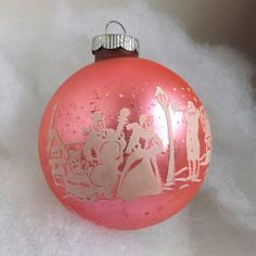 Items similar to Vintage large Shiny Brite Christmas pink stencil mercury glass ornament Victorian carolers snow covered village scene on Etsy Antique Christmas Ornaments, Christmas Past, Vintage Ornaments, Christmas Toys, Pink Christmas, Glass Ornaments, All Things Christmas, Christmas Tree Decorations, Christmas Bulbs
