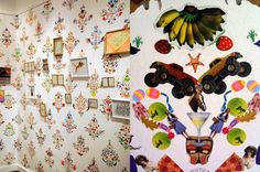 Wallpaper pattern made out of ordinary stickers! WOW