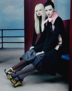 Daphne Groeneveld and Lindsey Wixson photographed by Inez & Vinoodh for Miu Miu