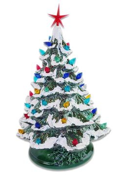 Starry Night Lighted Ceramic Christmas Tree Green With Snow Artificial Trees for sale online Ceramic Christmas Trees, Christmas Bulbs, Christmas Crafts, Christmas Decorations, Vintage Decorations, Artificial Trees For Sale, Flocked Trees, Seasonal Decor, Holiday Decor