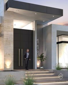 Find home projects from professionals for ideas & inspiration. Residencia 118 by Elias Braun Architecture House Front Design, House Front Door, Modern House Design, Modern Houses, Modern Entrance Door, House Entrance, Modern Front Door, Entry Doors, Contemporary Front Doors