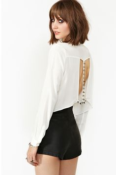 Spike The Line Blouse in Ivory