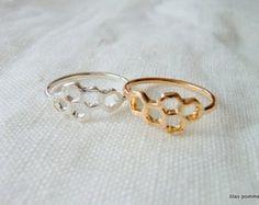 bague ruche abeille miel doré ou argenté - bijoux minimaliste délicat