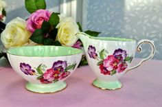 Royal Grafton Sweet Pea pattern vintage china milk jug and sugar bowl 1950s