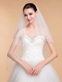 Wedding Veils Women's Elegant Tulle Rhinestone Two-tier Ribbon Edge Veils - GBP £28.46