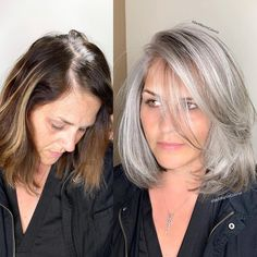 ❤❤❤ AB // peut être 🤔 This beautiful client came to me from Las Vegas with hair that had multi different light and dark brassy colors, she was seeking gray… Long Gray Hair, Silver Grey Hair, Grey Hair Dye, Grey Blonde Hair, Lilac Hair, Pastel Hair, Green Hair, Hair Color Silver Grey, Gray Hair Colors