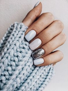 silvery baby blue winter nails