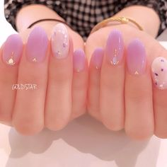 Soft Nails, My Nails, Pastel Nails, Bling Nails, Korean Nail Art, Asian Nail Art, Purple Nail Art, Light Purple Nails, Red Nail