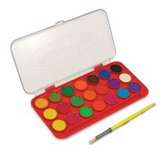 Melissa & Doug Deluxe Watercolor Paint Set (21 Colors) by Melissa & Doug. $6.05. Jumbo watercolor paint set with 21 vibrant paint colors. Flip-top lid doubles as a mixing tray. Encourages fine motor skills and creativity. Includes deluxe-sized brush. Housed in a sturdy plastic tray for secure. From the Manufacturer                From vibrant color to a pale wash, these 21 beautiful non-toxic watercolors are awaiting your inspiration. Contained in a sturdy carry case, the lid ...