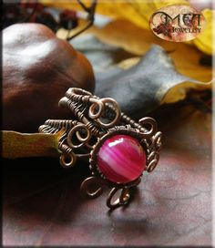 Dalia- antique looking wire wrapped copper ring with pink agate.  Oxidized and polished copper wire for ancient, old looking effect.