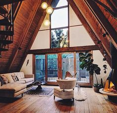 8 Effortless Clever Ideas: Attic Room Before And After half attic remodel. A Frame Cabin, A Frame House, Attic Renovation, Attic Remodel, Triangle House, Cabin Interiors, Cabin Homes, Deco Design, My Dream Home