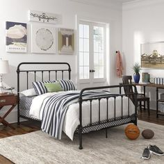 New Barbera Standard Bed Laurel Foundry Modern Farmhouse online - Thepreferst Bedroom Bed, Kids Bedroom, Bedroom Ideas, Cozy Bedroom, Bedroom Designs, Black Metal Bed, Laurel, Farmhouse Bedroom Decor, Farmhouse Style Bedrooms