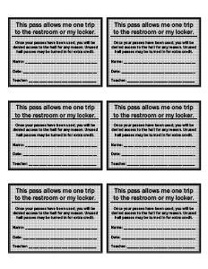 hall pass template for teachers   Printable Hall Passes Sample ...